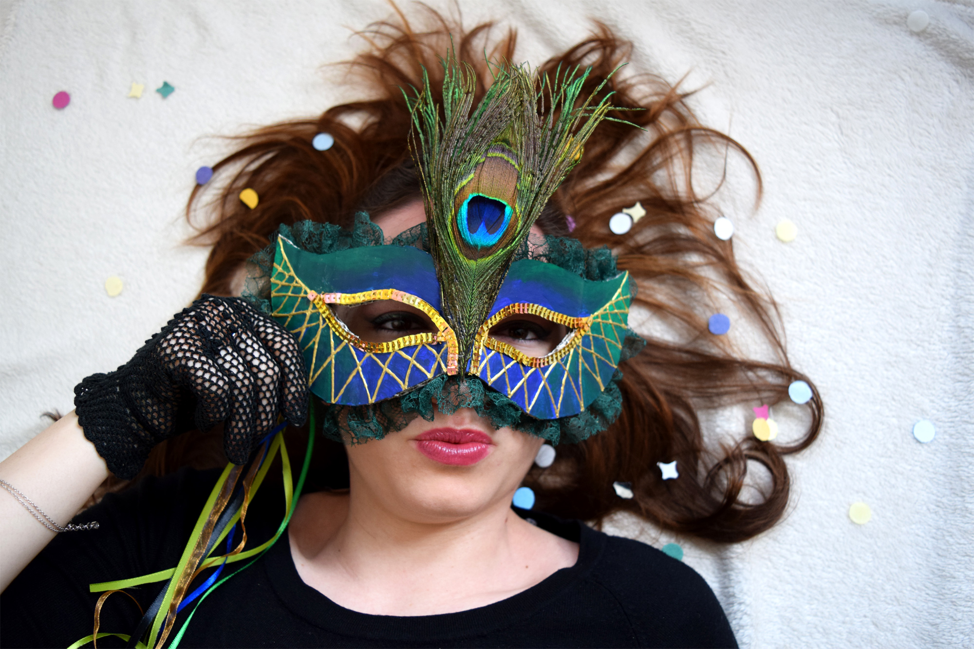 Giulia modelling the Peacock mask