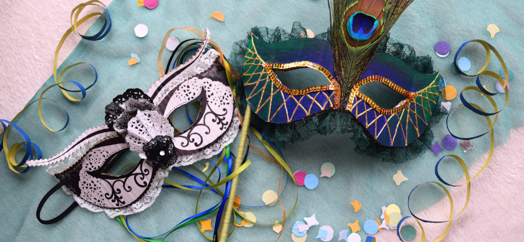 Two Colombina masks for the Grand Ball in Venice