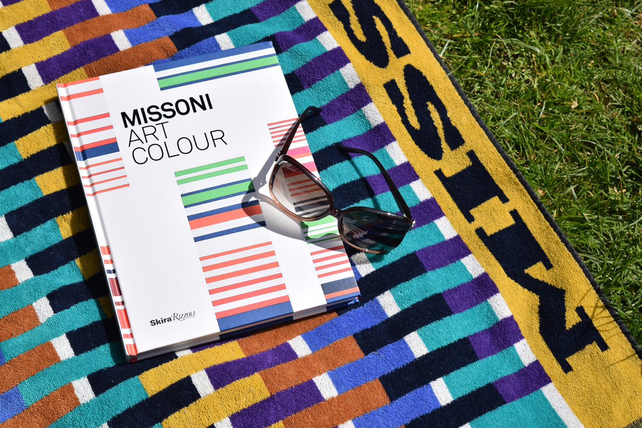 Missoni Art Colour, Exhibition Catalogue, Skira Rizzoli Publications Inc. 2015 on Missoni Home beach towel.