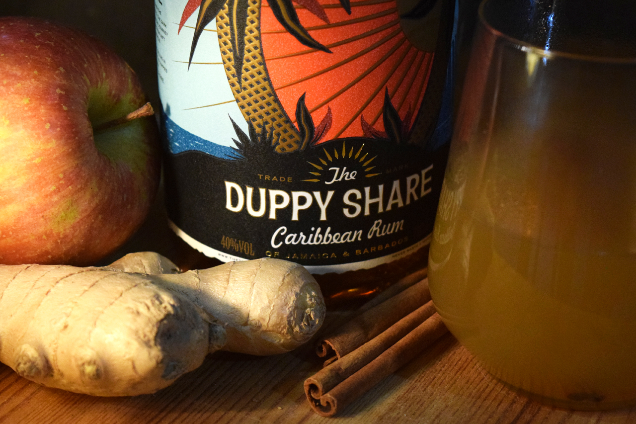 Cloudy Apple Juice, Ginger, Cinnamon, Lime and Duppy Share Rum