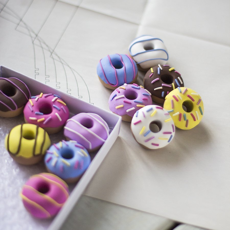 Handmade Polymer Clay Doughnut Sewing Pattern Weights by Danni from OhSewQuaint