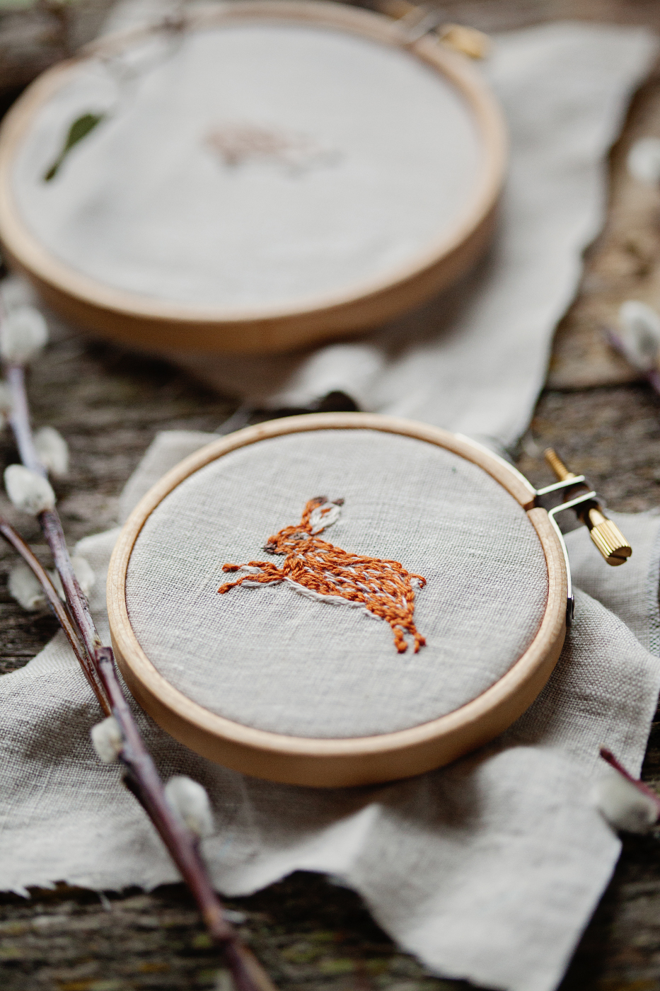 Hand embroidered rabbit