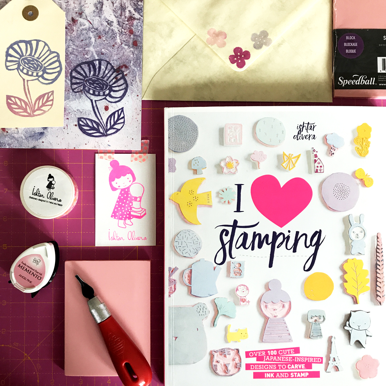 Stamps inspired by Ishtar Olivera's book, 'I Love Stamping'
