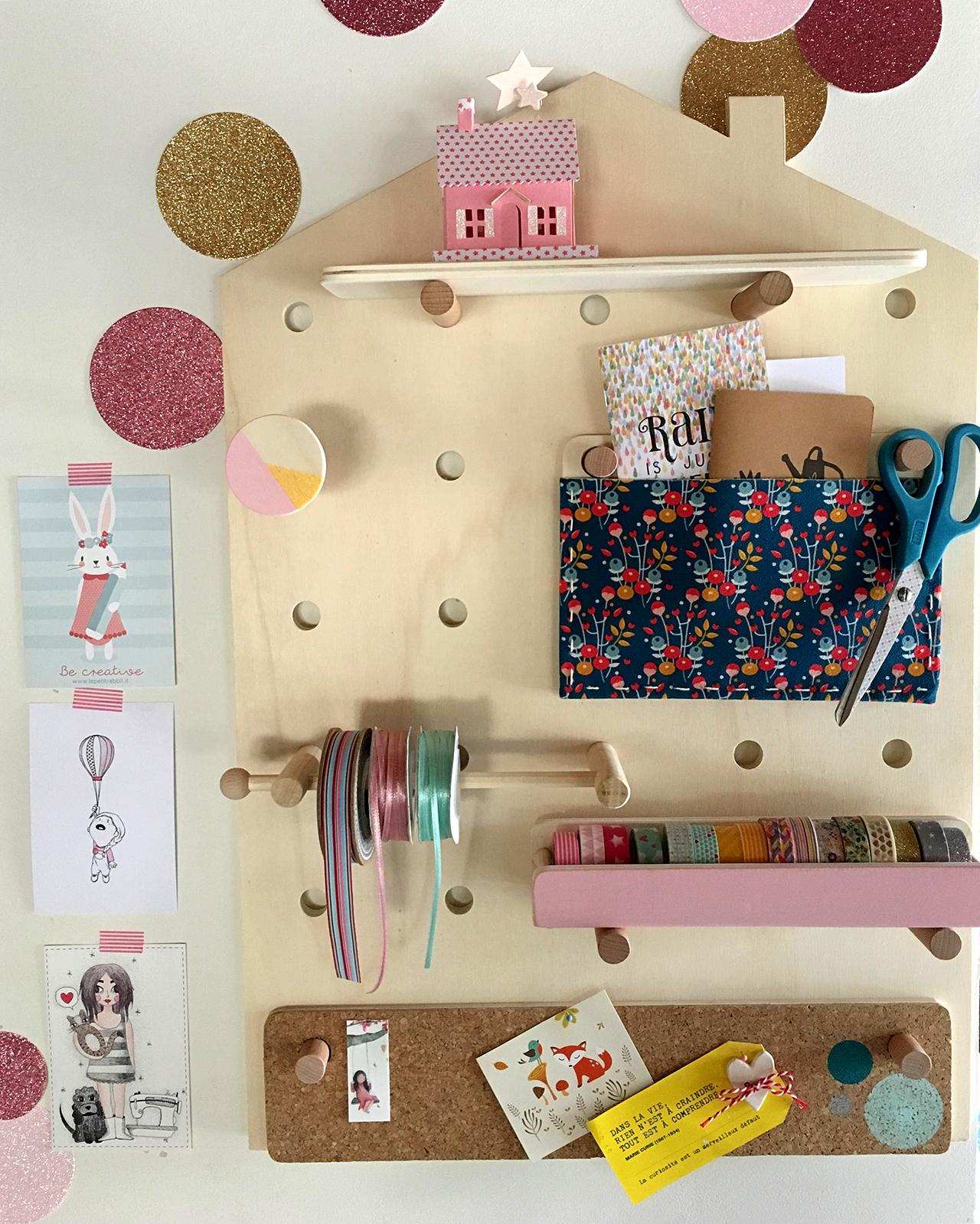 Zucchero e Caffe'- Valentina handmade pegboard at Il Mondo Creativo