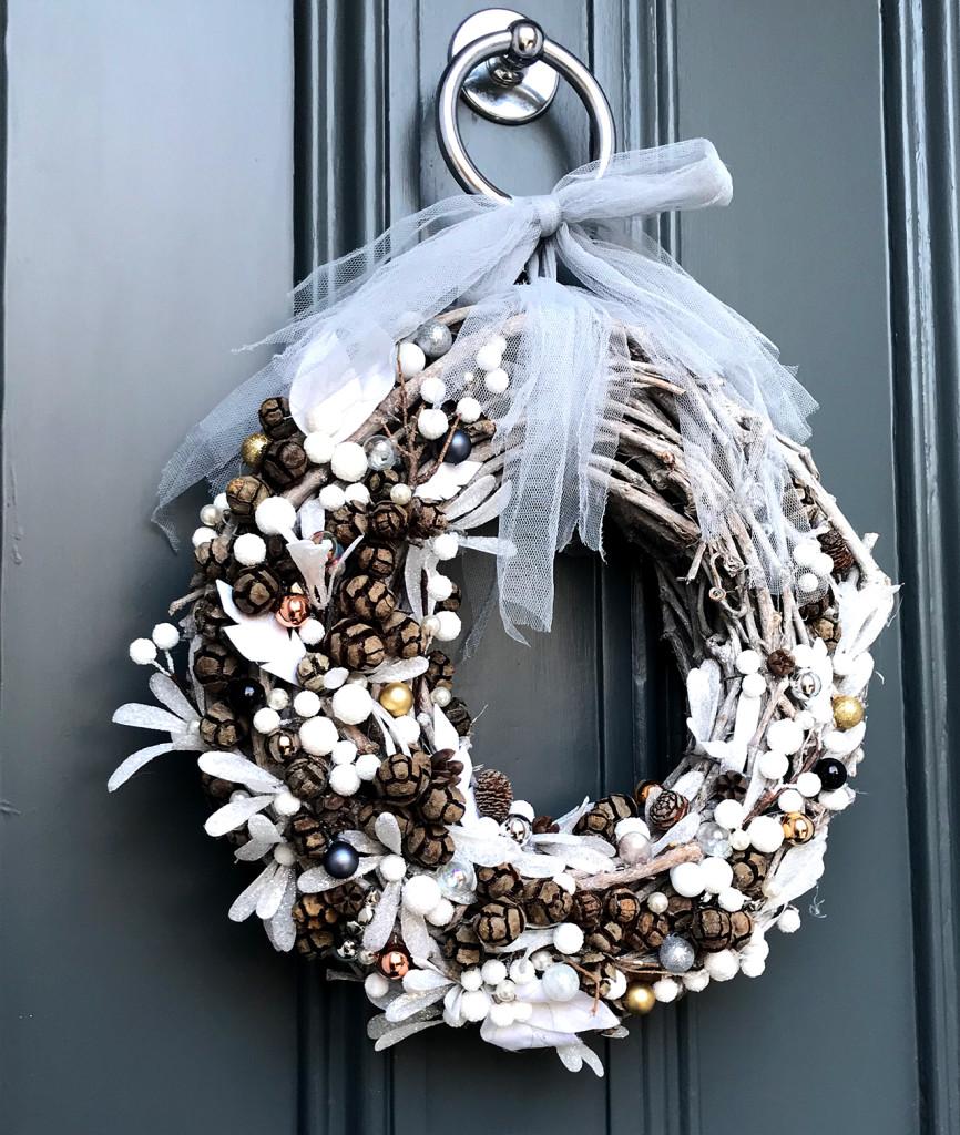 Wreath hanging on the door