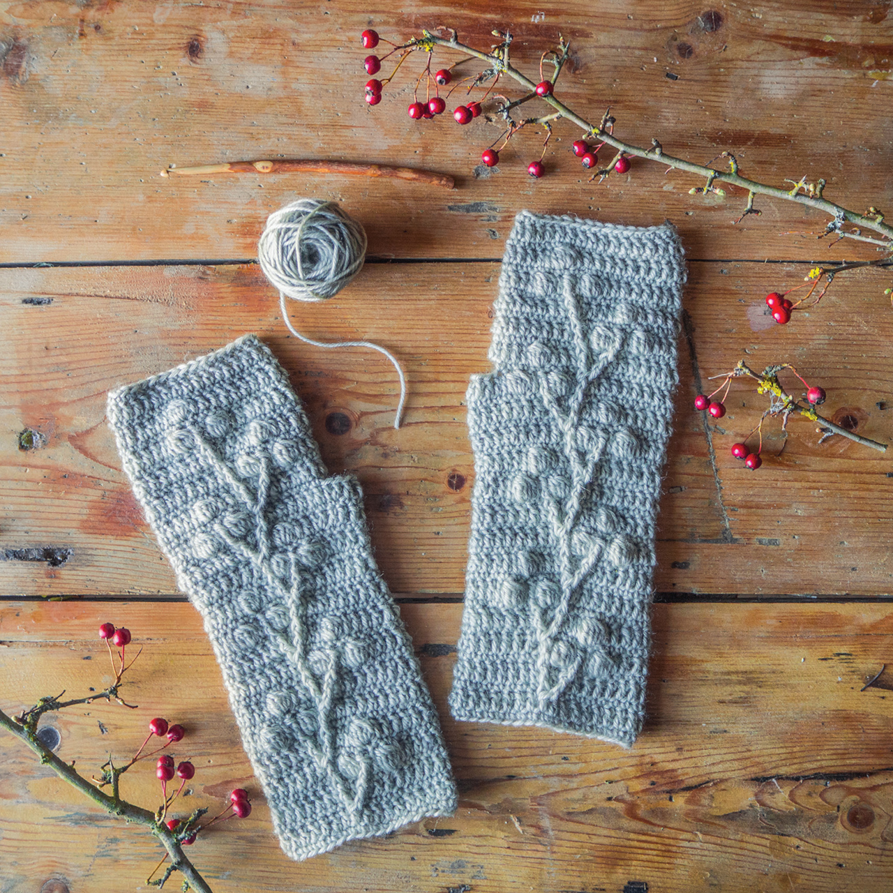 Hawthorn Wrist Warmers from 'Making Winter' by Emma Mitchell.